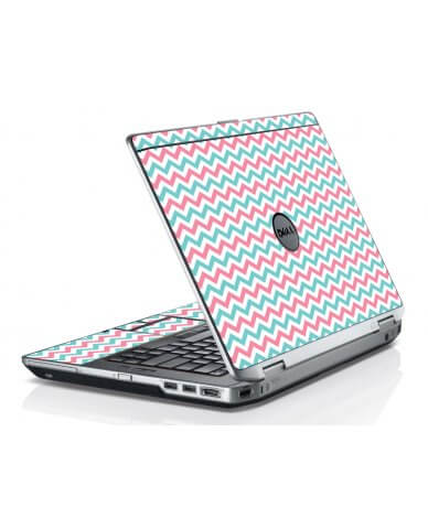 Pink Teal Chevron Waves Dell E6420 Laptop Skin