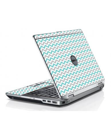 Teal Grey Chevron Waves Dell E6420 Laptop Skin