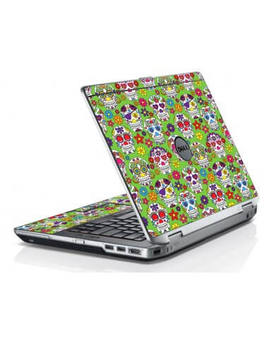 Green Sugar Skulls Dell E6520 Laptop Skin