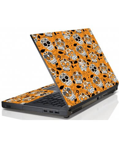 Orange Sugar Skulls Dell M4600 Laptop Skin