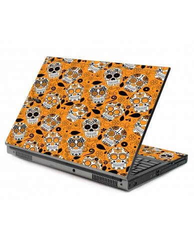 Orange Sugar Skulls Dell M6400 Laptop Skin