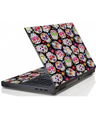 Sugar Skulls Black Flowers Dell M6600 Laptop Skin