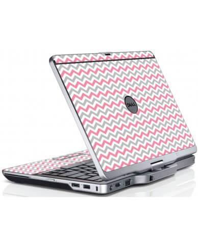 Pink Grey Chevron Waves Dell XT3 Laptop Skin