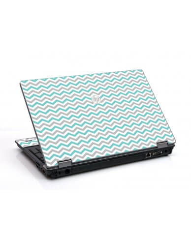 Teal Grey Chevron Waves HP ProBook 6455B Laptop Skin