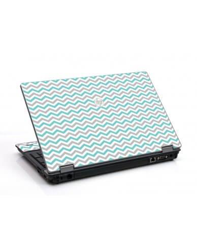 Teal Grey Chevron Waves HP ProBook 6455B Laptop Skin