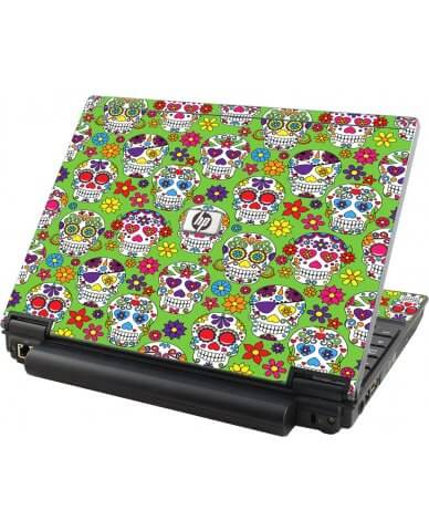 Green Sugar Skulls HP Compaq 2510P Laptop Skin
