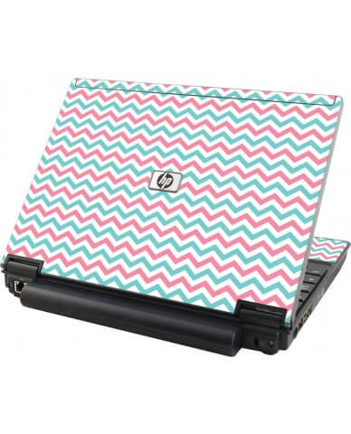 Pink Teal Chevron Waves HP Elitebook 2530P Laptop Skin
