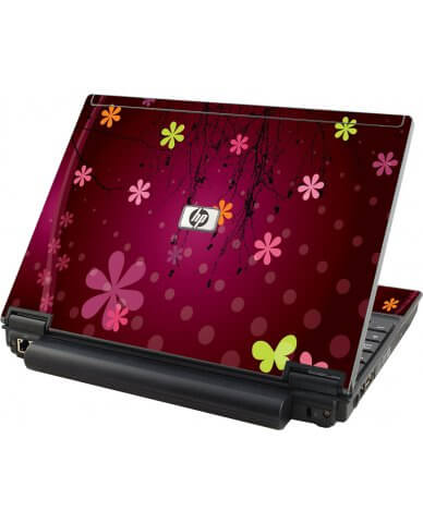 Retro Pink Flowers HP Elitebook 2530P Laptop Skin