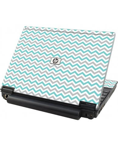 Teal Grey Chevron Waves HP Elitebook 2530P Laptop Skin