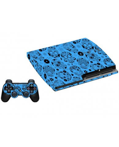 CRAZY BLUE SUGAR SKULLS PLAYSTATION 3 GAME CONSOLE SKIN