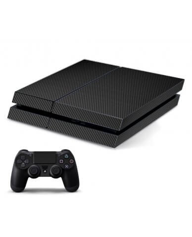BLACK TEXTURED CARBON FIBER PLAYSTATION 4 GAME CONSOLE SKIN