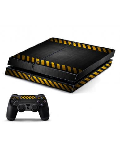 BLACK CAUTION BORDER PLAYSTATION 4 GAME CONSOLE SKIN