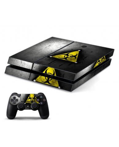 BLACK CAUTION PLAYSTATION 4 GAME CONSOLE SKIN