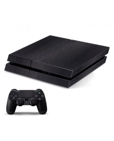 BLACK LEATHER PLAYSTATION 4 GAME CONSOLE SKIN