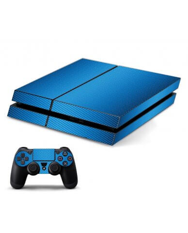 BLUE TEXTURED CARBON FIBER PLAYSTATION 4 GAME CONSOLE SKIN