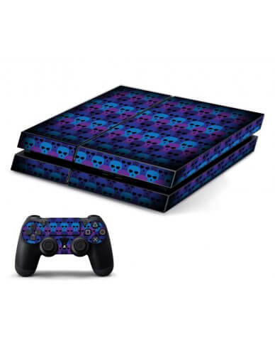 BLUE SKULLS PLAYSTATION 4 GAME CONSOLE SKIN