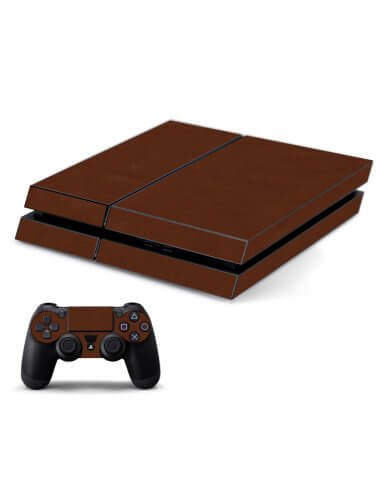 BROWN LEATHER PLAYSTATION 4 GAME CONSOLE SKIN