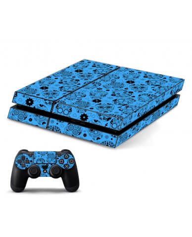 CRAZY BLUE SUGAR SKULLS PLAYSTATION 4 GAME CONSOLE SKIN