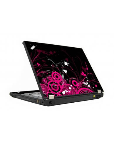 Black Pink Butterfly IBM T410 Laptop Skin